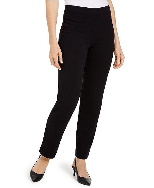 JM Collection Textured Tummy-Control Pull-On Pants, Created For Macy's