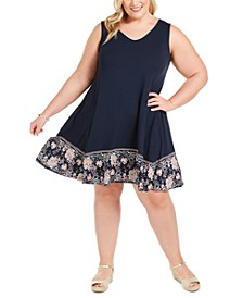 Plus Size Crossback-Strap Swing Dress, Created For Macy's