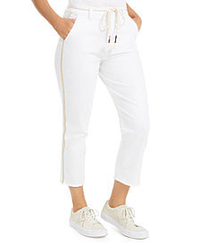 Celebrity Pink Juniors' Rope-Belt Cropped Jeans