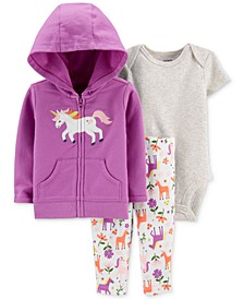 Baby Girls 3-Pc. Cotton Unicorn Hoodie, Bodysuit & Leggings Set
