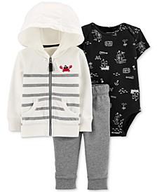 Baby Boys 3-Pc. Cotton Crab Hoodie, Bodysuit & Jogger Pants Set