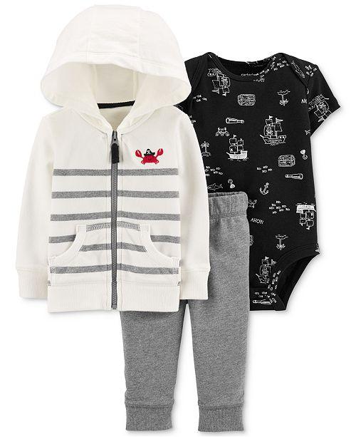 Carter's Baby Boys 3-Pc. Cotton Crab Hoodie, Bodysuit & Jogger Pants Set