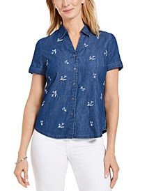 Petite Cotton Embroidered-Front Shirt, Created for Macy's