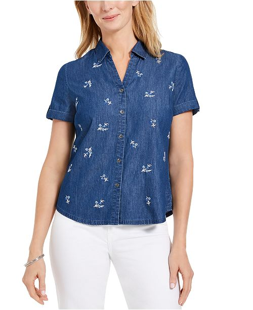 Karen Scott Petite Cotton Embroidered-Front Shirt, Created For Macy's
