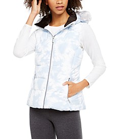 Printed Faux-Fur Hood Puffer Vest