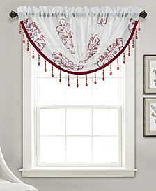 "Bergen Floral Embroidered 47"" x 37"" Swag Valance"