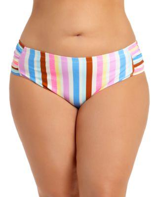 Trendy Plus Size Striped Bikini Bottoms, Created for Macy's