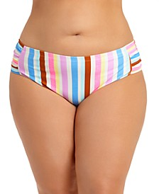 Trendy Plus Size Striped Bikini Bottoms, Created for Macy's