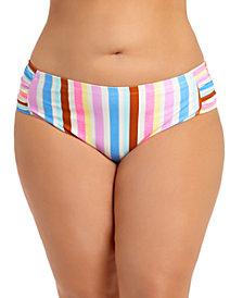 California Waves Trendy Plus Size Striped Bikini Bottoms, Created for Macy's