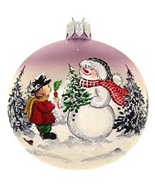 "Hand Painted Santa And Boy European Mouth Blown Hand Decorated 4"" Round Holiday Ornament"