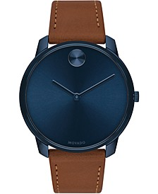 Men's Swiss BOLD Brown Nappa Leather Strap Watch 42mm