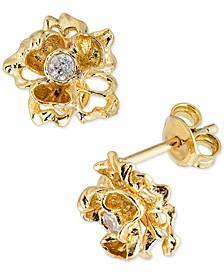 Diamond Flower Stud Earrings (1/8 ct. t.w.) in 18k Gold-Plated Sterling Silver