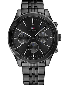 Men's Chronograph Black Stainless Steel Bracelet Watch 44mm, Created for Macy's