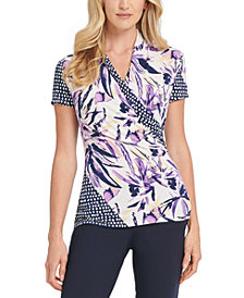 DKNY Mixed Print Wrap Top