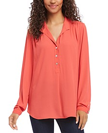 Shirred-Henley Top