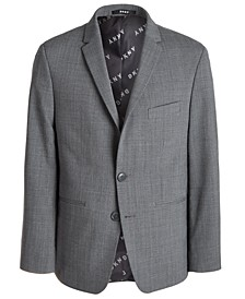 Big Boys Classic-Fit Stretch Gray Tonal Plaid Suit Jacket