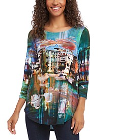 Scenic-Print 3/4-Sleeve Top