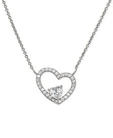 """Cubic Zirconia Heart 18"""" Pendant Necklace in Sterling Silver, Created for Macy's"""