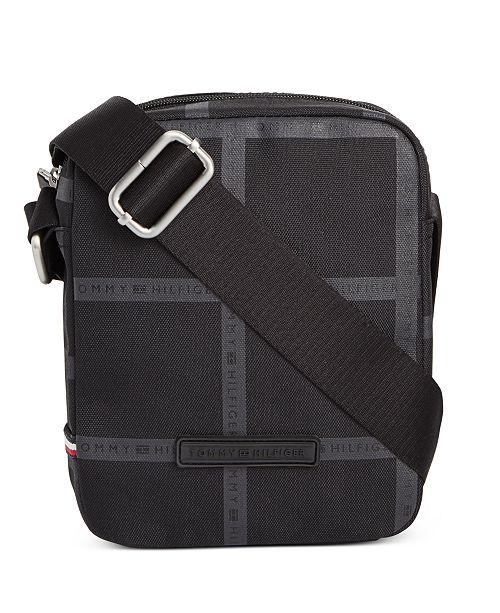 Tommy Hilfiger Men's Alexander Windowpane Plaid Mini Reporter Bag