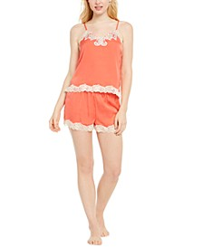 INC Antique-Look Lace Woven Top and Pajama Shorts Set, Created for Macy's