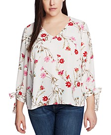 Plus Size Printed Tie-Sleeve Top
