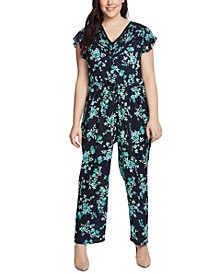 Plus Size Pintuck-Trim Jumpsuit