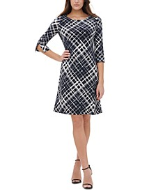Plaid Jersey A-Line Dress