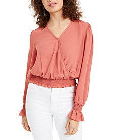 Juniors' Smocked-Hem Surplice Blouse