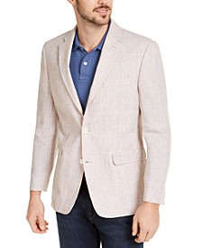 Men's Modern-Fit TH Flex Stretch Tan/Blue Plaid Sport Coat