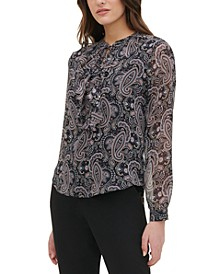Paisley Print Tie-Front Ruffle Blouse