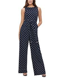 Polka-Dot Tie-Waist Jumpsuit