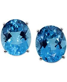 Blue Topaz Stud Earrings (11 ct. t.w.) in 14k White Gold
