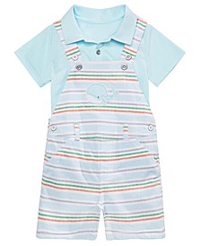Baby Boys 2-Pc. Shirt & Whale Shortalls Set, Created for Macy's