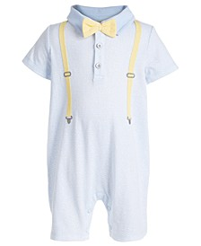 Baby Boys Bow Tie & Suspenders Cotton Sun Suit, Created for Macy's