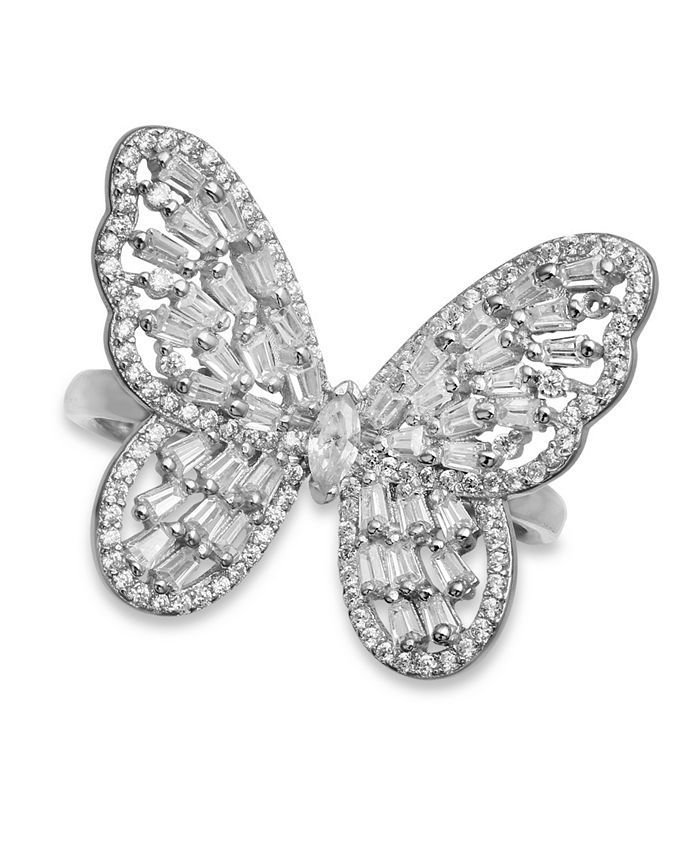 Macy's - Cubic Zirconia Baguette Butterfly Ring (1-1/2 ct. t.w.) In Sterling Silver or 18K Rose Gold over Sterling Silver