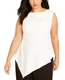 Plus Size Asymmetric Sleeveless Top