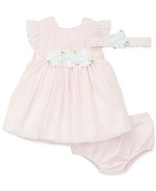Baby Girls 2-Pc. Flower Tulle Dress & Headband Set