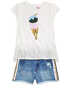 Big Girls Ice Cream T-Shirt & Denim Shorts, Created for Macy's