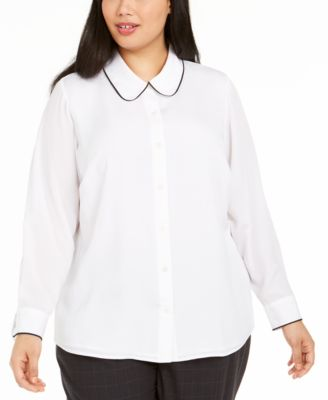 Plus Size Collared Colorblocked-Trim Blouse