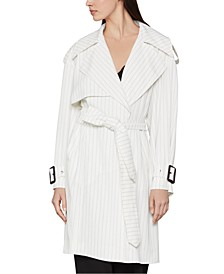 Pinstriped Belted Trench Coat