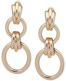 Gold-Tone Tubular Hoop Clip-On Double Drop Earrings