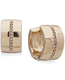 "Gold-Tone Small Pavé Clip-On Huggie Hoop Earrings, 0.5"""