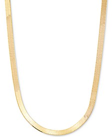 "Herringbone 18"" Chain Necklace in 18k Gold-Plated Sterling Silver"