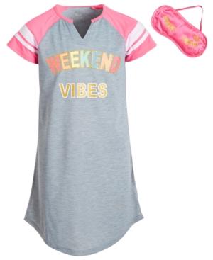 Max & Olivia Big Girls Weekend Vibes Nightgown & Sleep Mask
