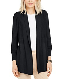 Petite Ribbed-Waist Cardigan, Created for Macy's