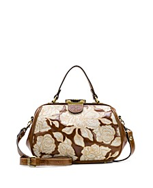 Natural Embroidery Gracchi Leather Satchel