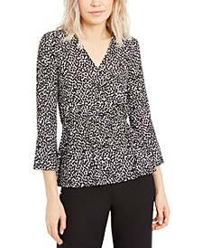 Petal-Print Bell-Sleeve Peplum Top, Regular & Petite