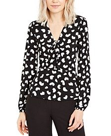 Petal-Print Bow Hardware Top, Regular & Petite