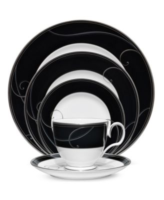 Platinum Wave Ebony Oval Platter, 14