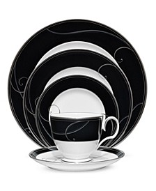 Dinnerware, Platinum Wave Ebony  Collection